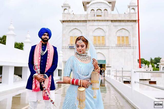 powder blue bridal lehenga