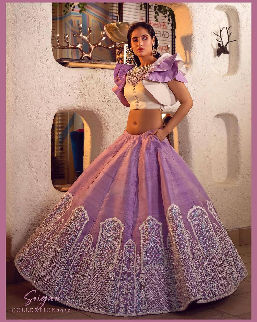 purple and white lehenga