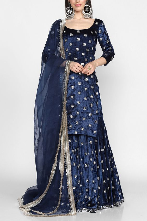 royal blue velvet lehenga