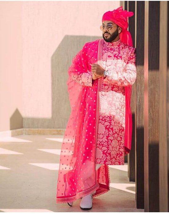 pink sabyasachi groom sherwani