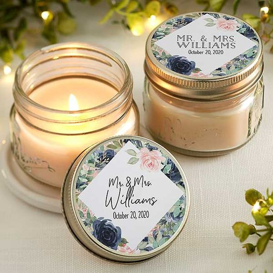 scented candles as winter wedding favors