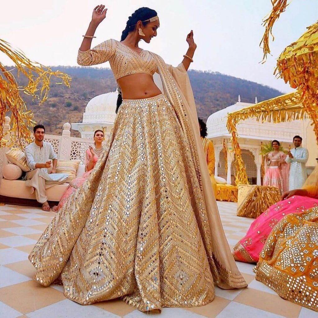 shimmery bridal lehenga