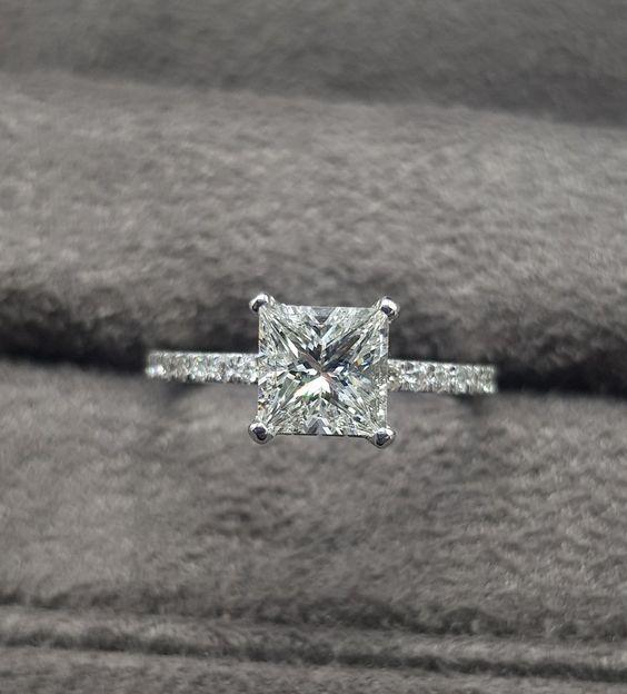 square shaped diamond ring