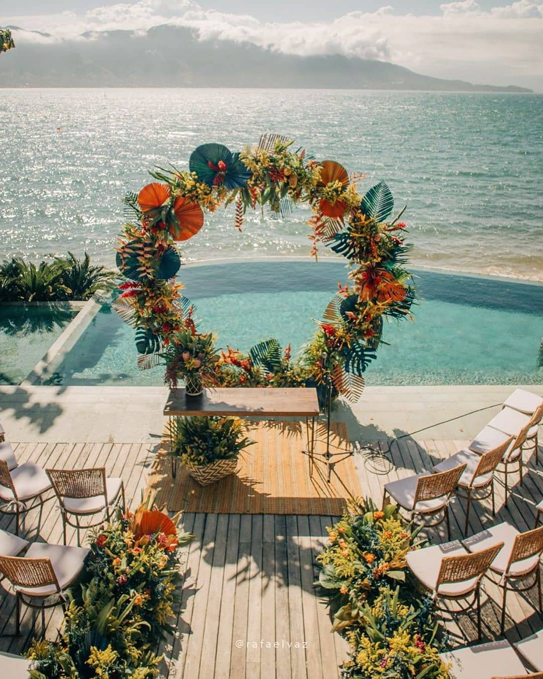 stage decor with floral wreath