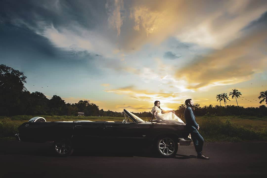sunset pre-wedding shoot in car