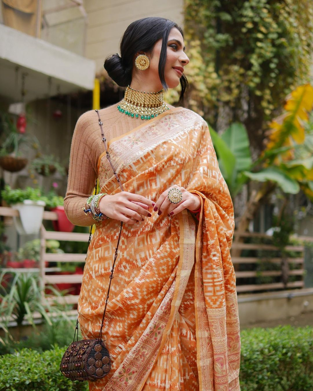 sweater blouse with saree