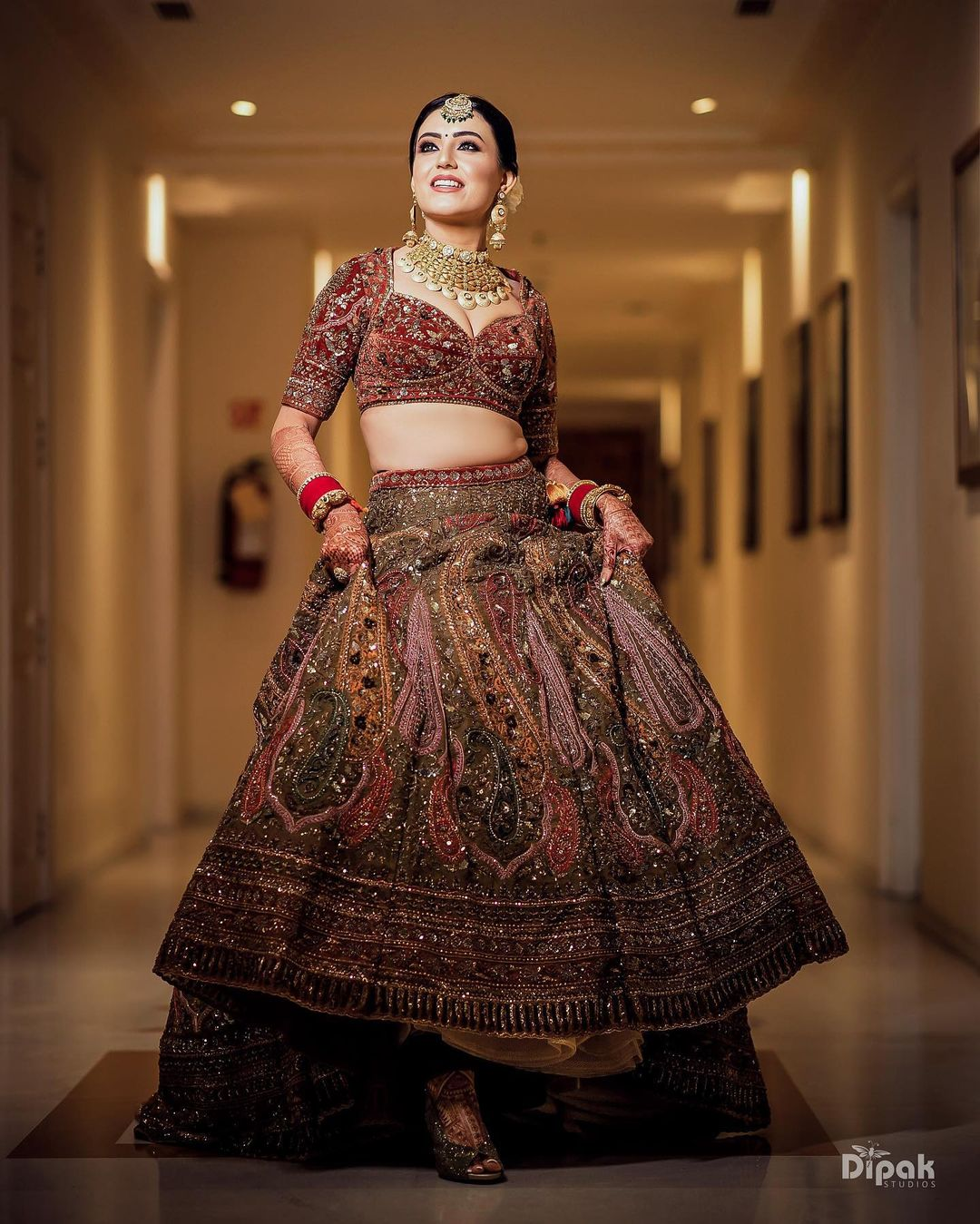 unique bridal color lehenga