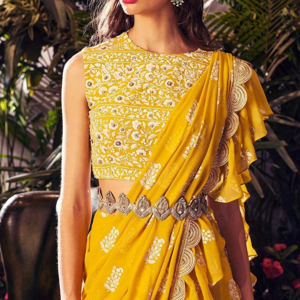 yellow ruffle saree