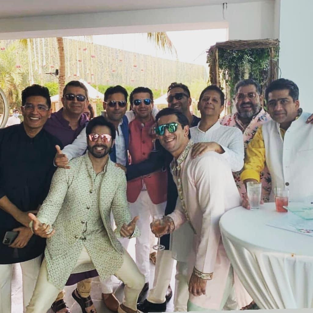 varun dhawan with groomsmen