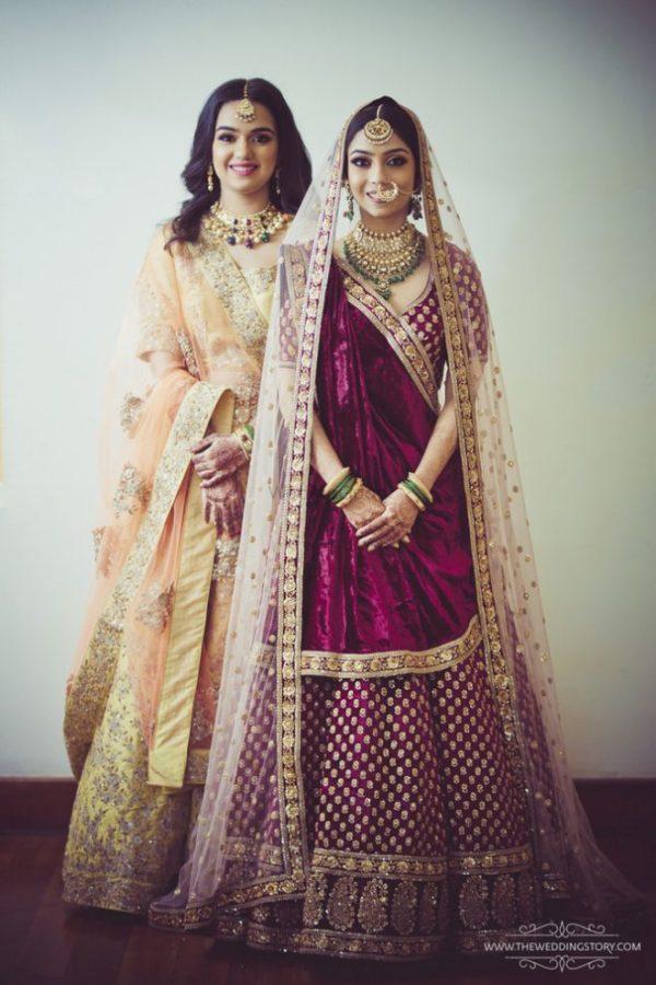 velvet bridal lehenga with double dupatta