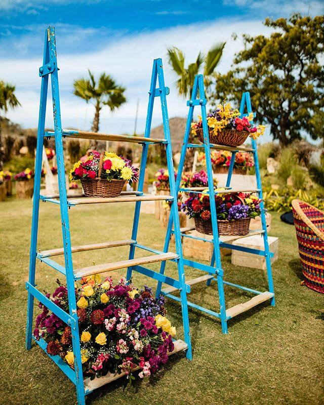 wicker baskets with floral decor
