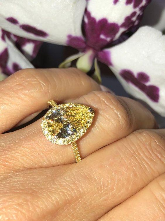 yellow stone wedding ring