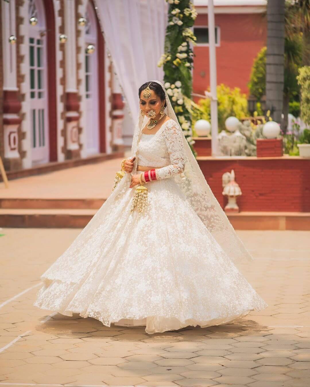 bridal white lehenga