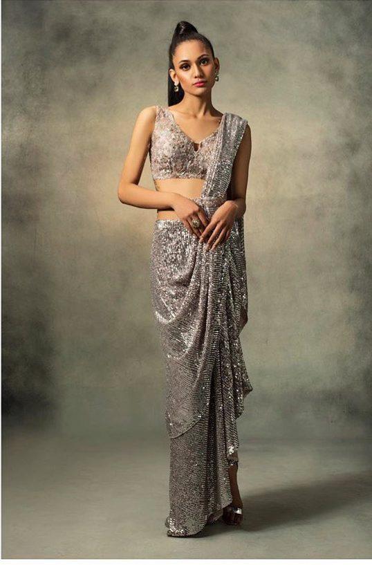 metallic saree