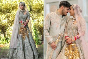 Bride In Sea Green Lehenga