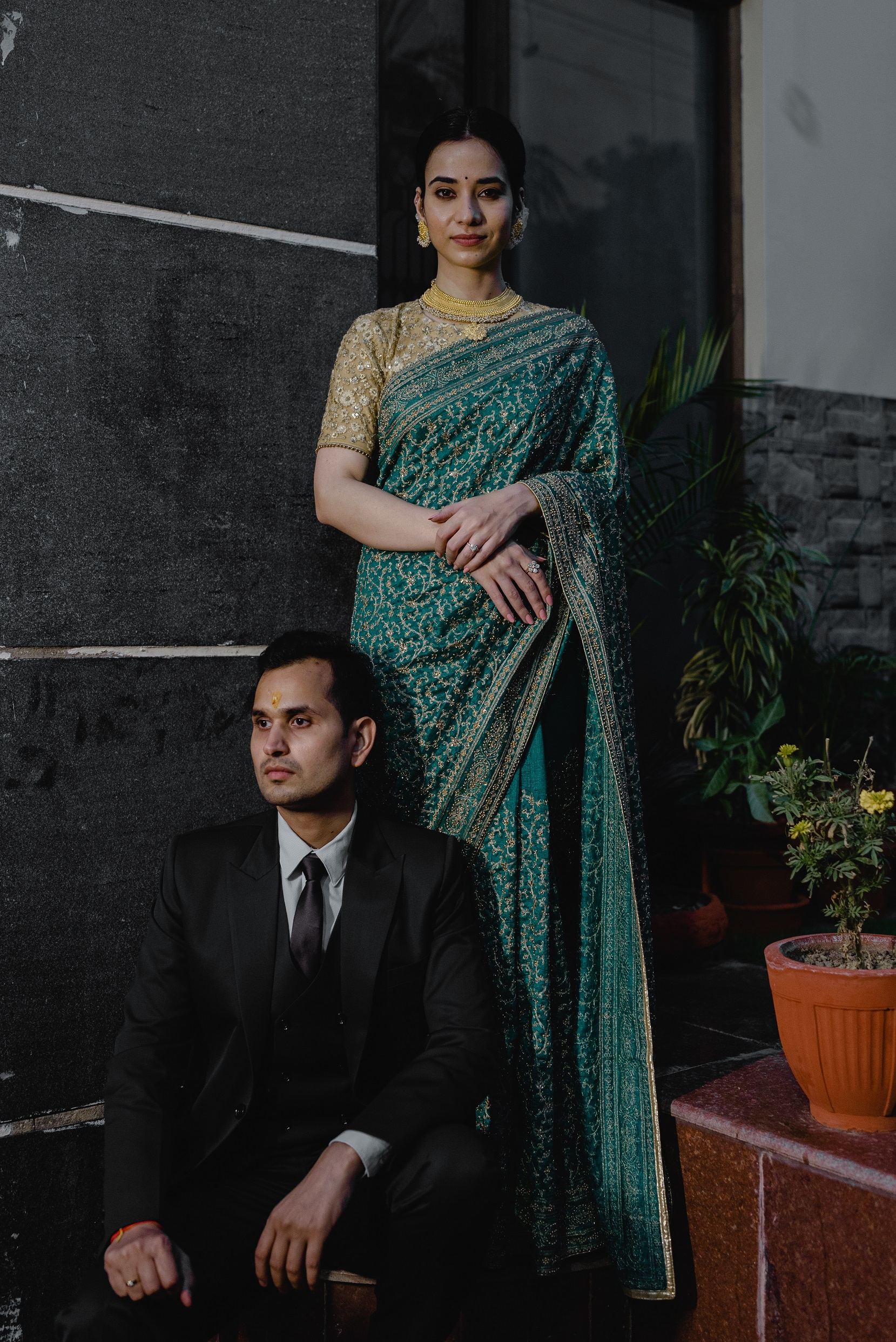 Green bridal saree