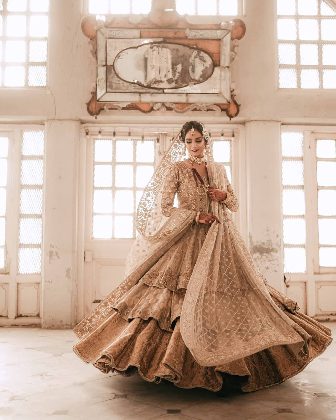 Muslim bridal outfit in gold color