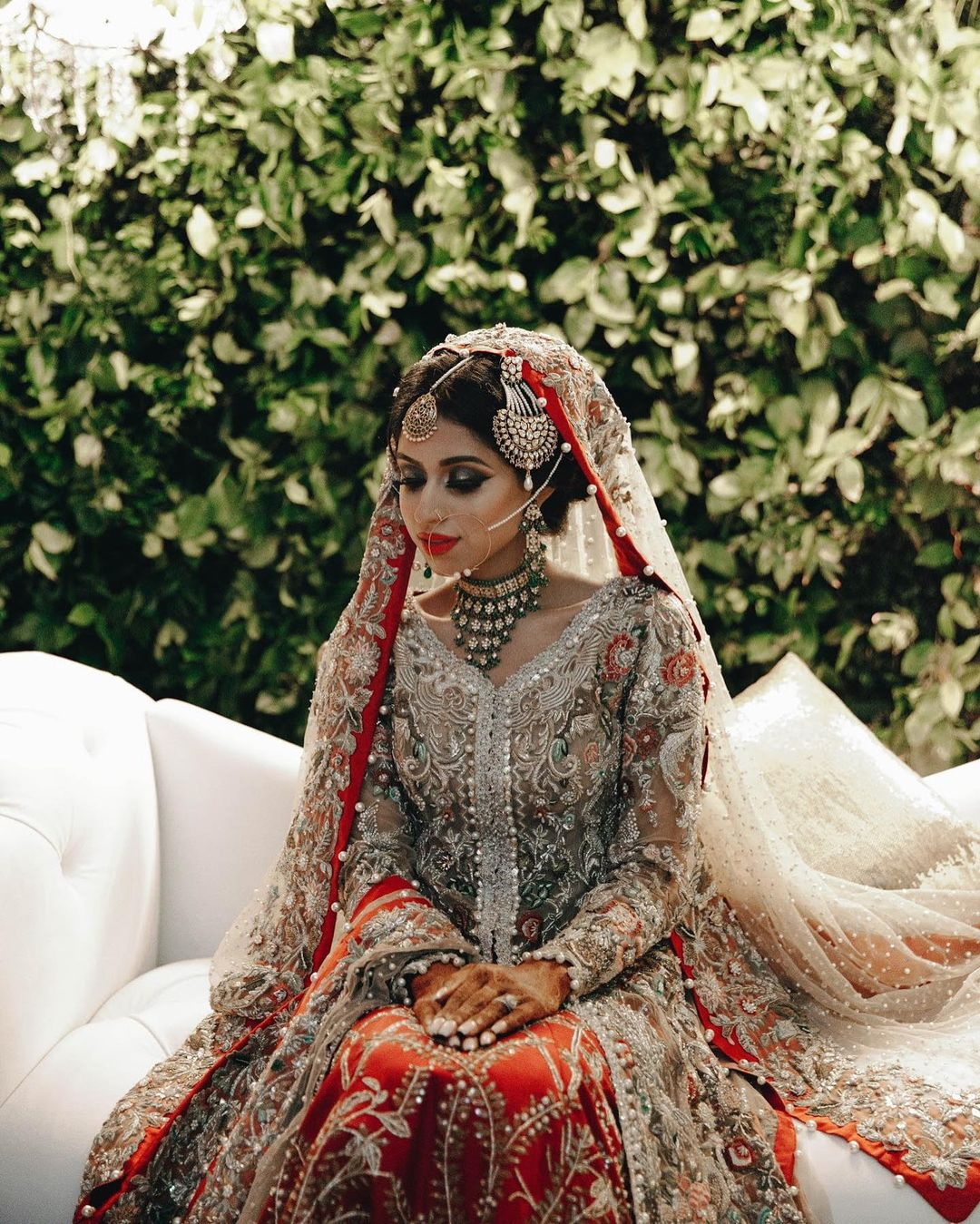 Muslim bridal outfit with red dupatta