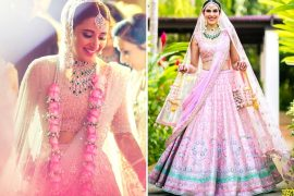 Pink Lehenga With Green Jewelry