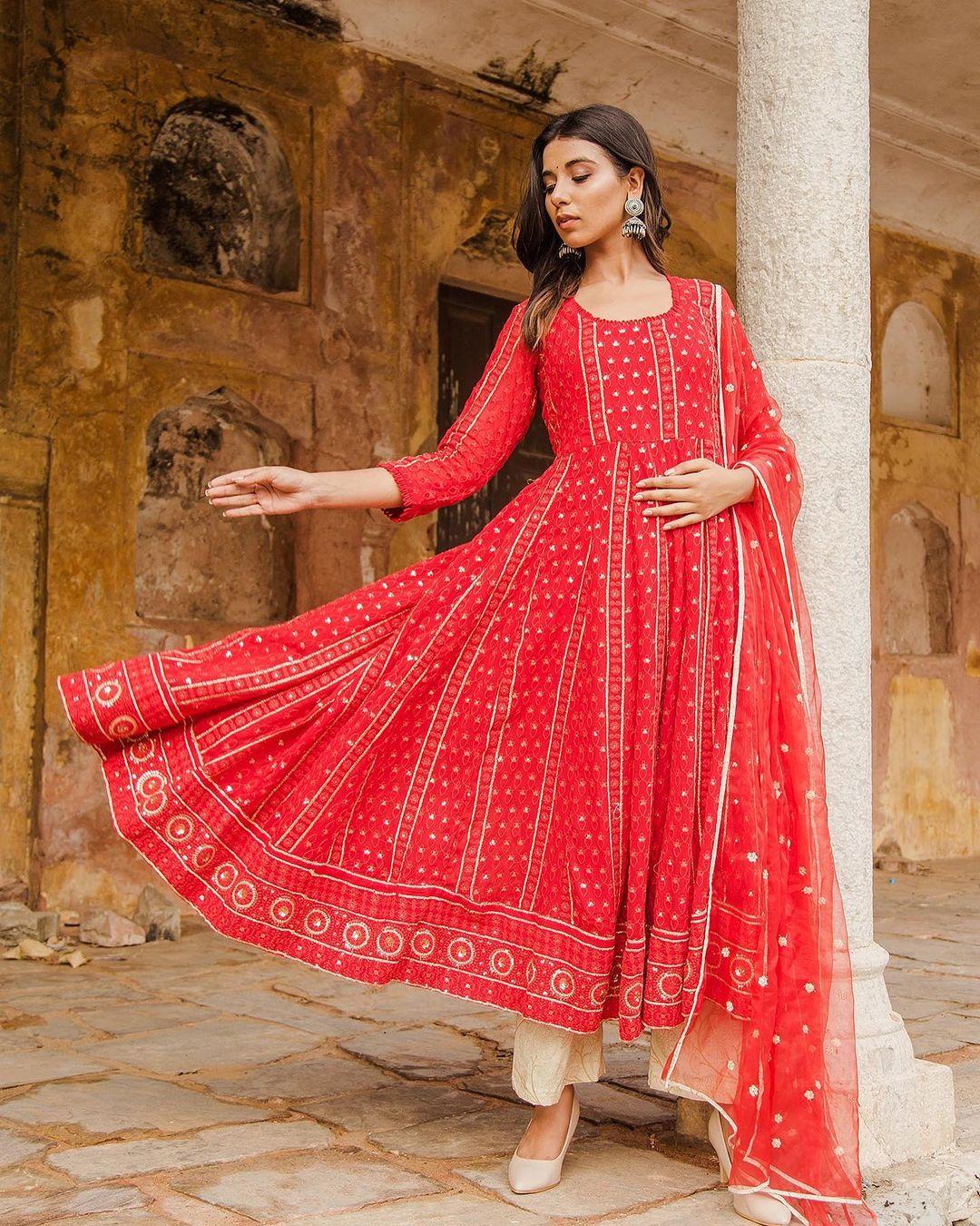 Red Anarkali Gulabo Jaipur