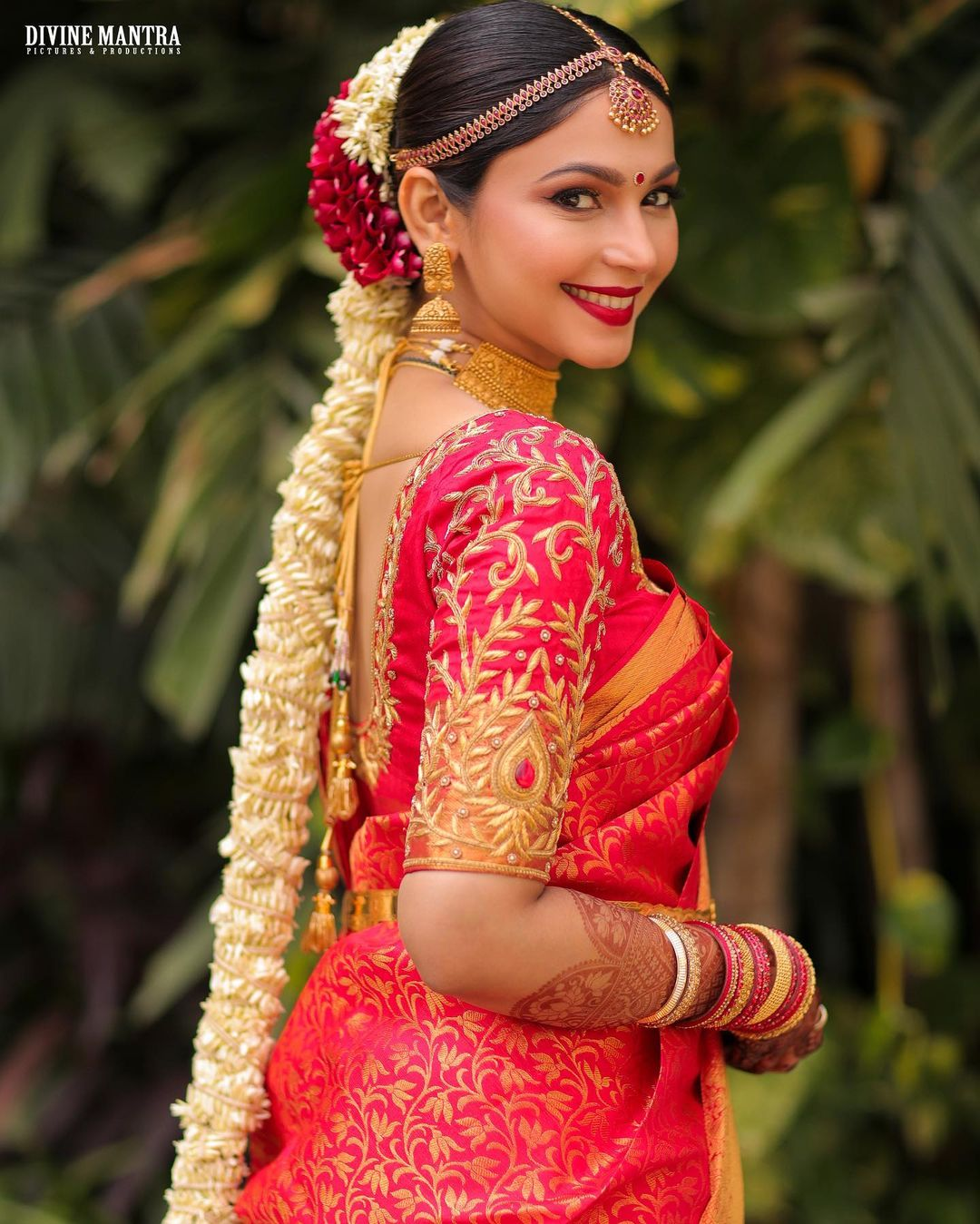 Red silk saree south indian bride