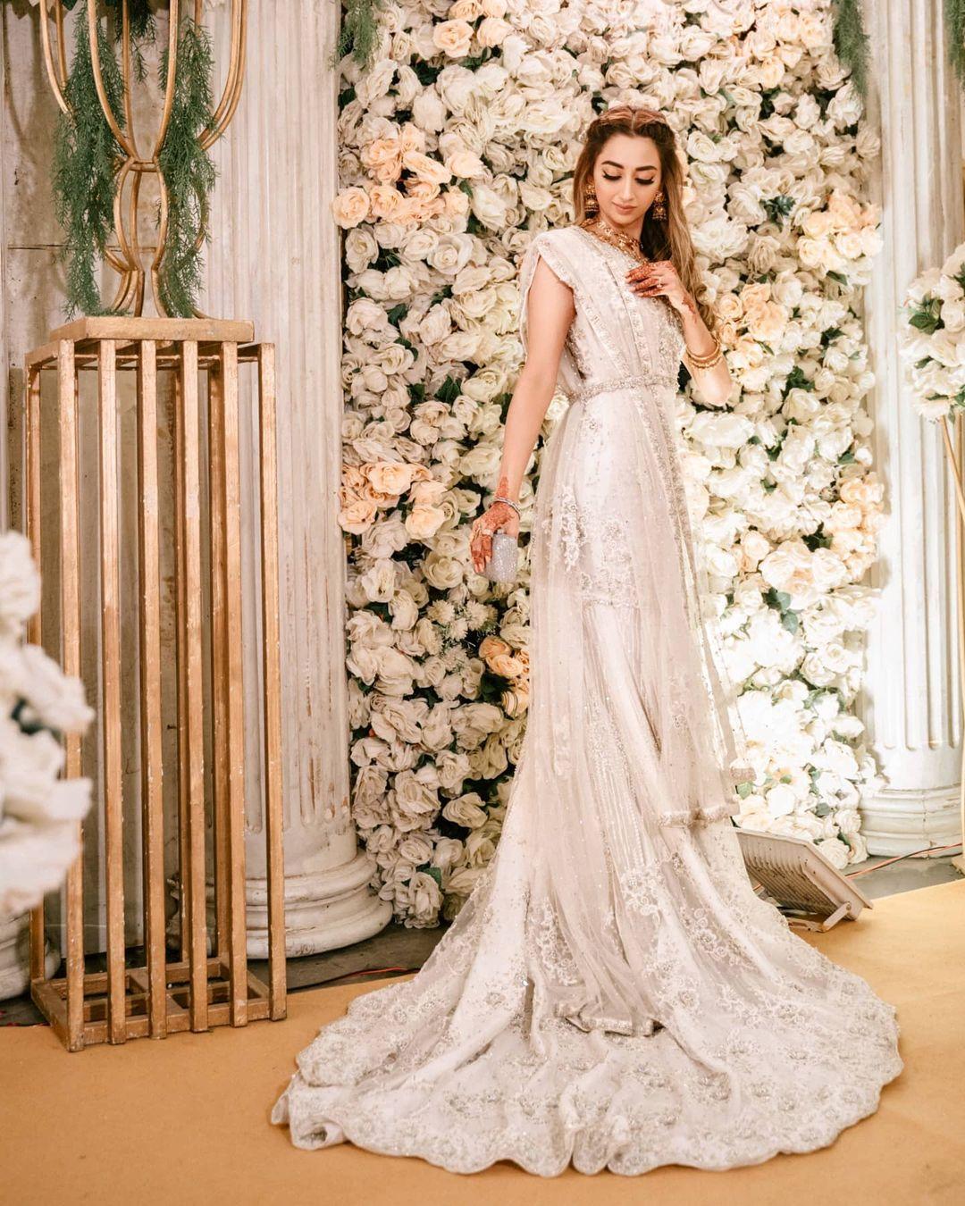 White bridal wear for Muslim brides