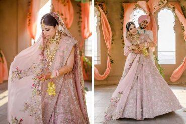 anamika khanna pastel pink lehenga