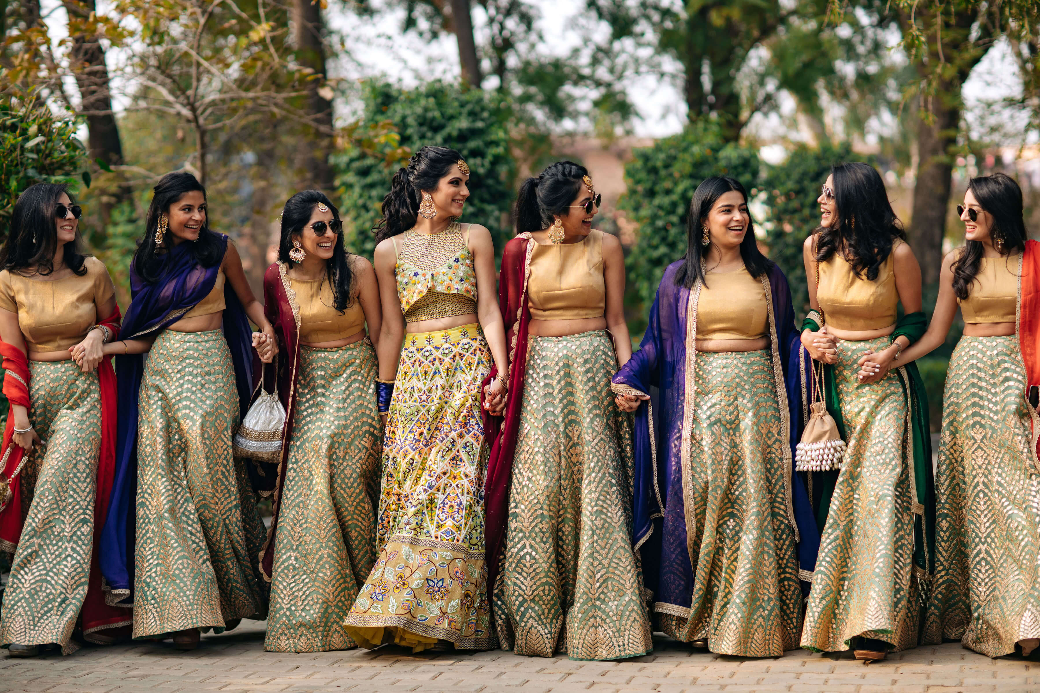 bridal entry with sisters