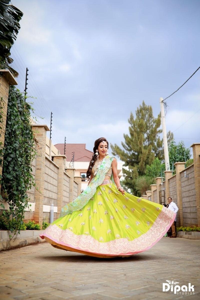 bridal twirling shot
