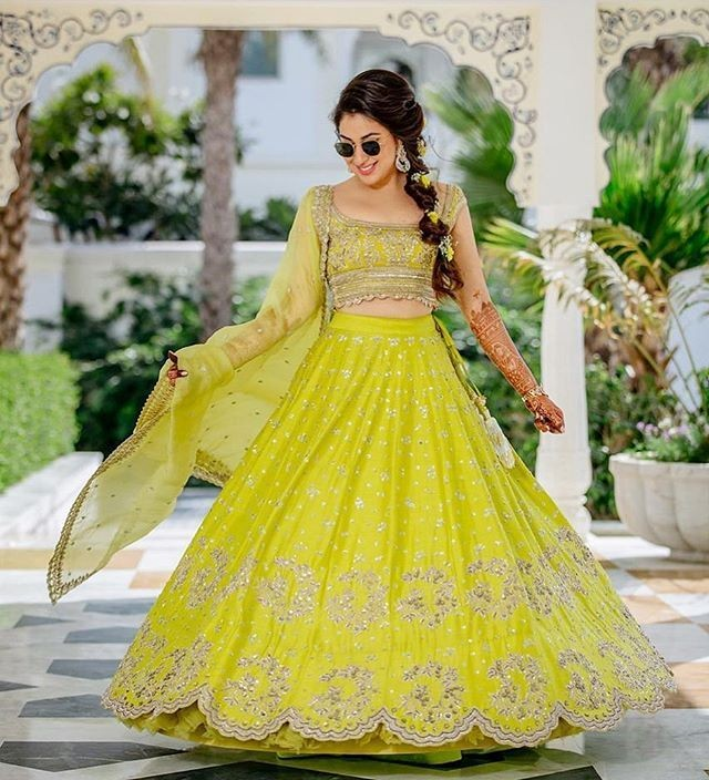 bright colored bridal lehenga