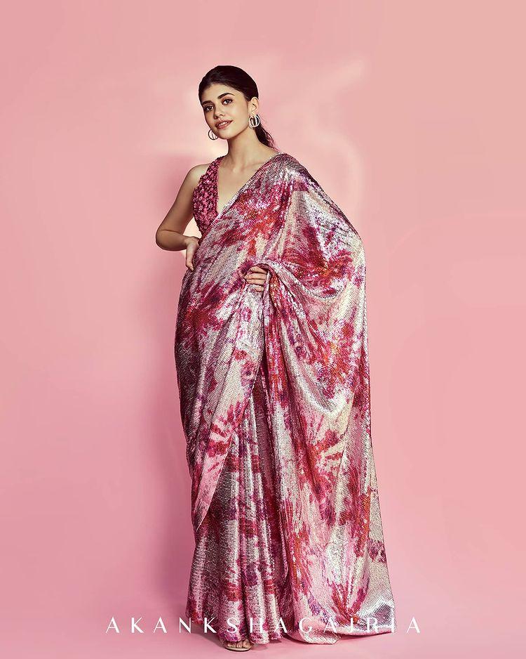 designer shimmer sarees