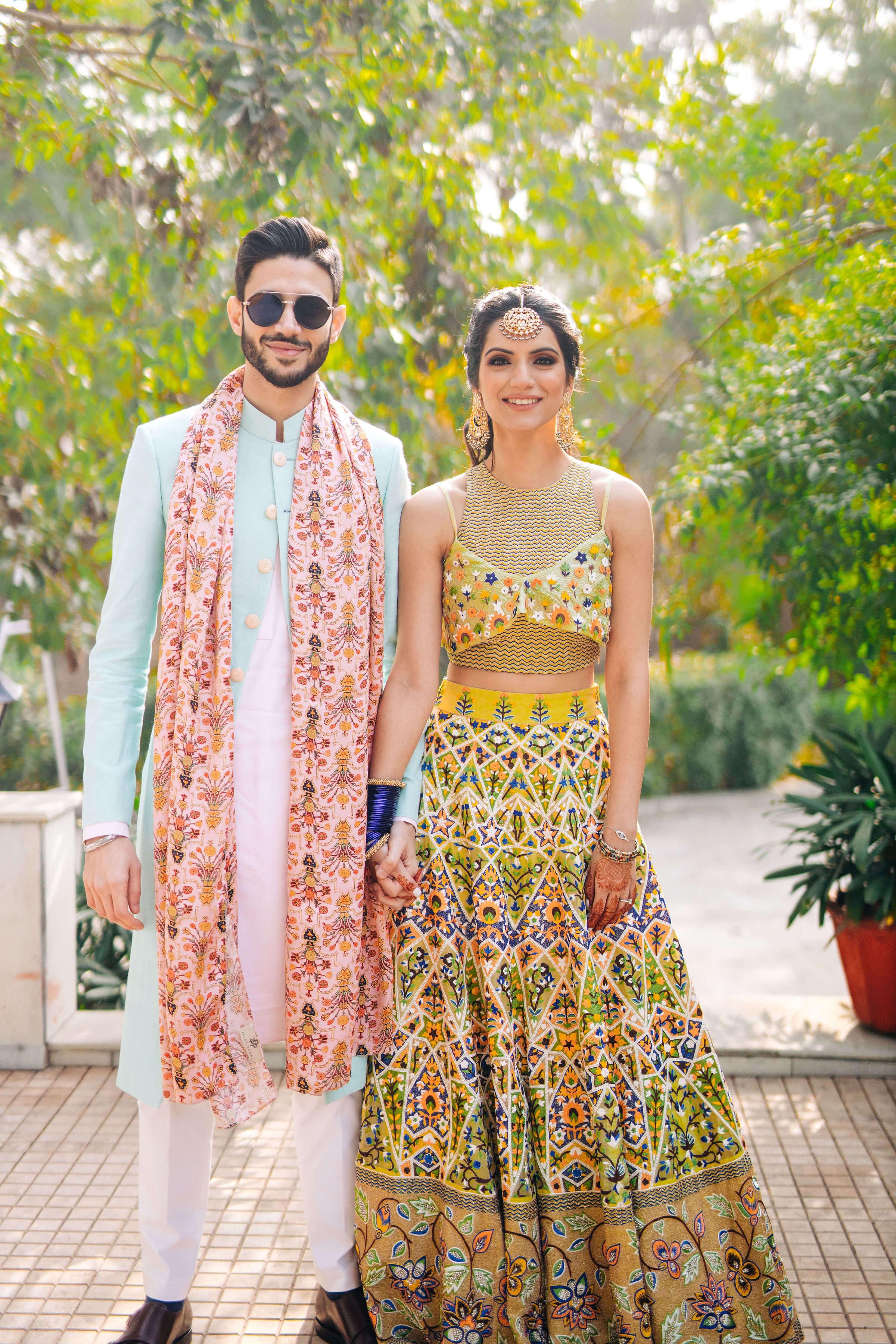 designer outfits for mehendi