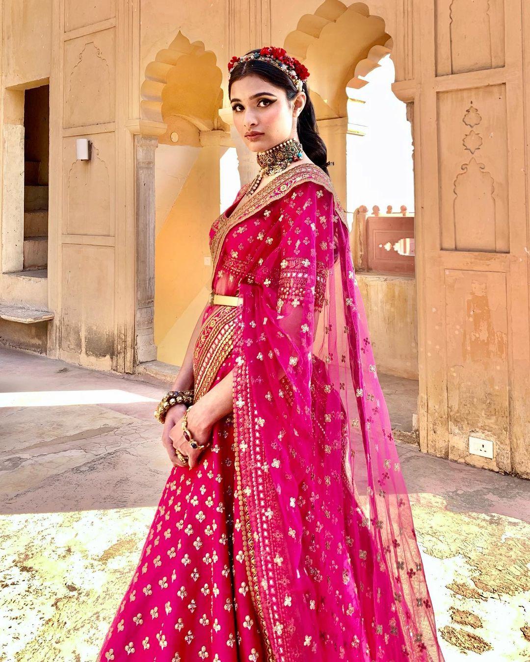 designer pink bridal lehenga