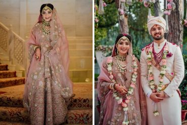 embroidered pastel pink bridal lehenga