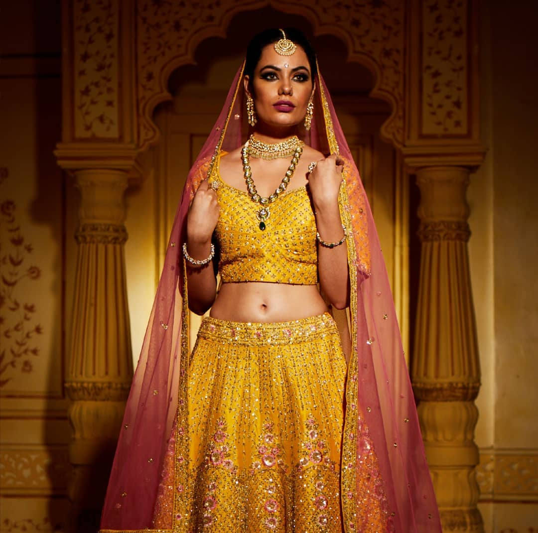 mustard yellow bridal lehenga