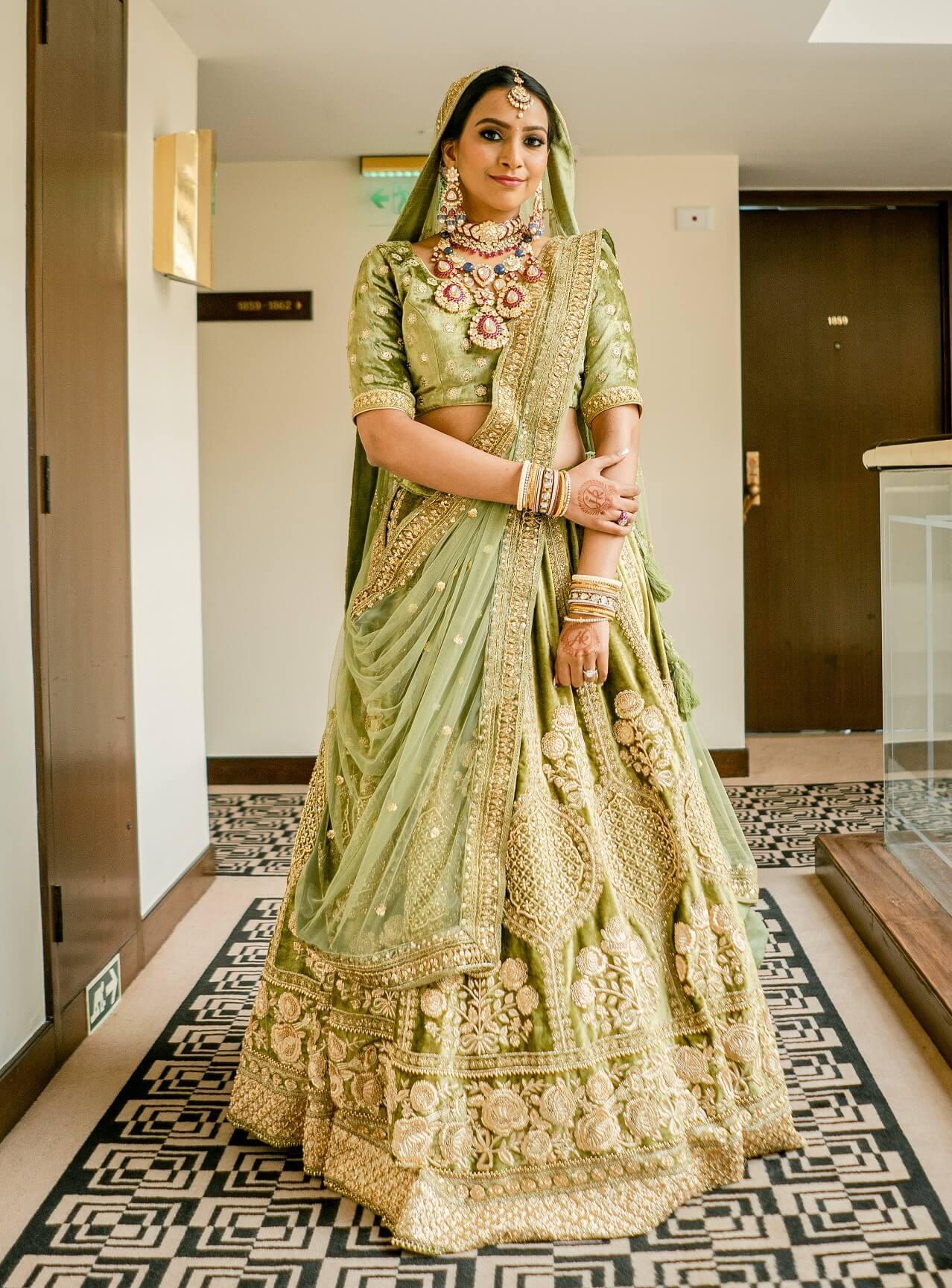 olive green bridal lehenga