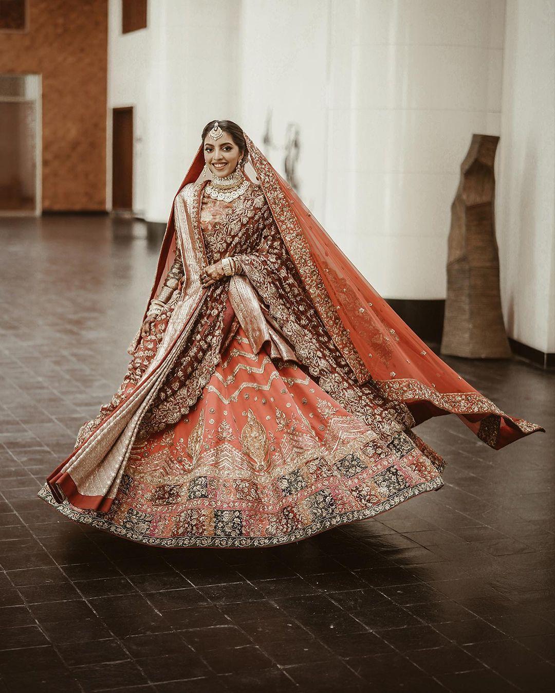 orange bridal lehenga for Muslim weddings