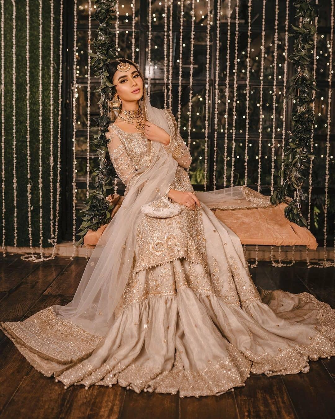 pale gold Muslim wedding wear