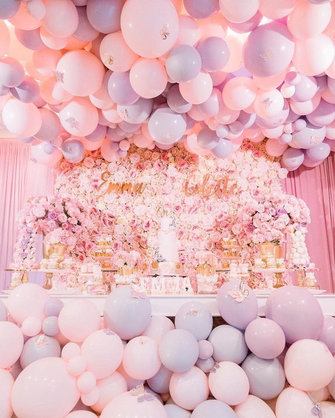 pastel colored balloons at wedding