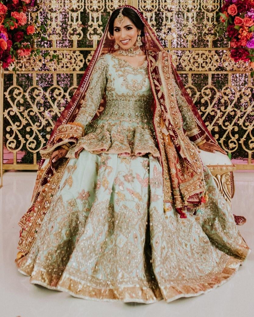 pastel green bridal lehenga