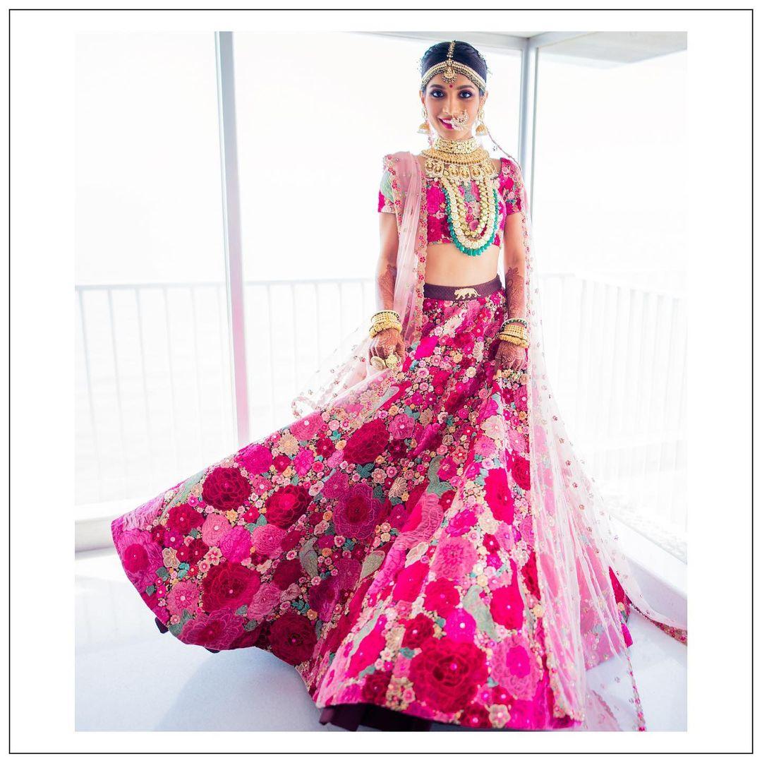pink Sabyasachi bridal lehenga