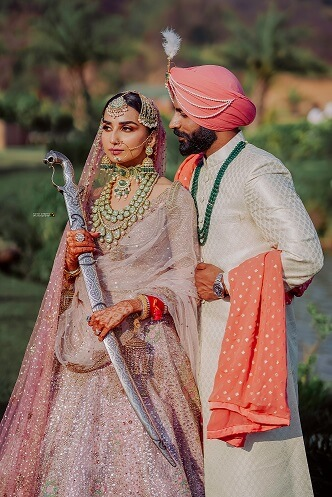 romantic sikh couple shot