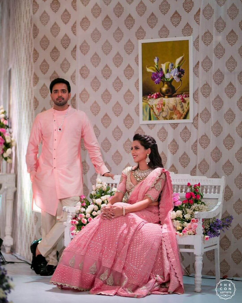 groom in pastel pink sherwani
