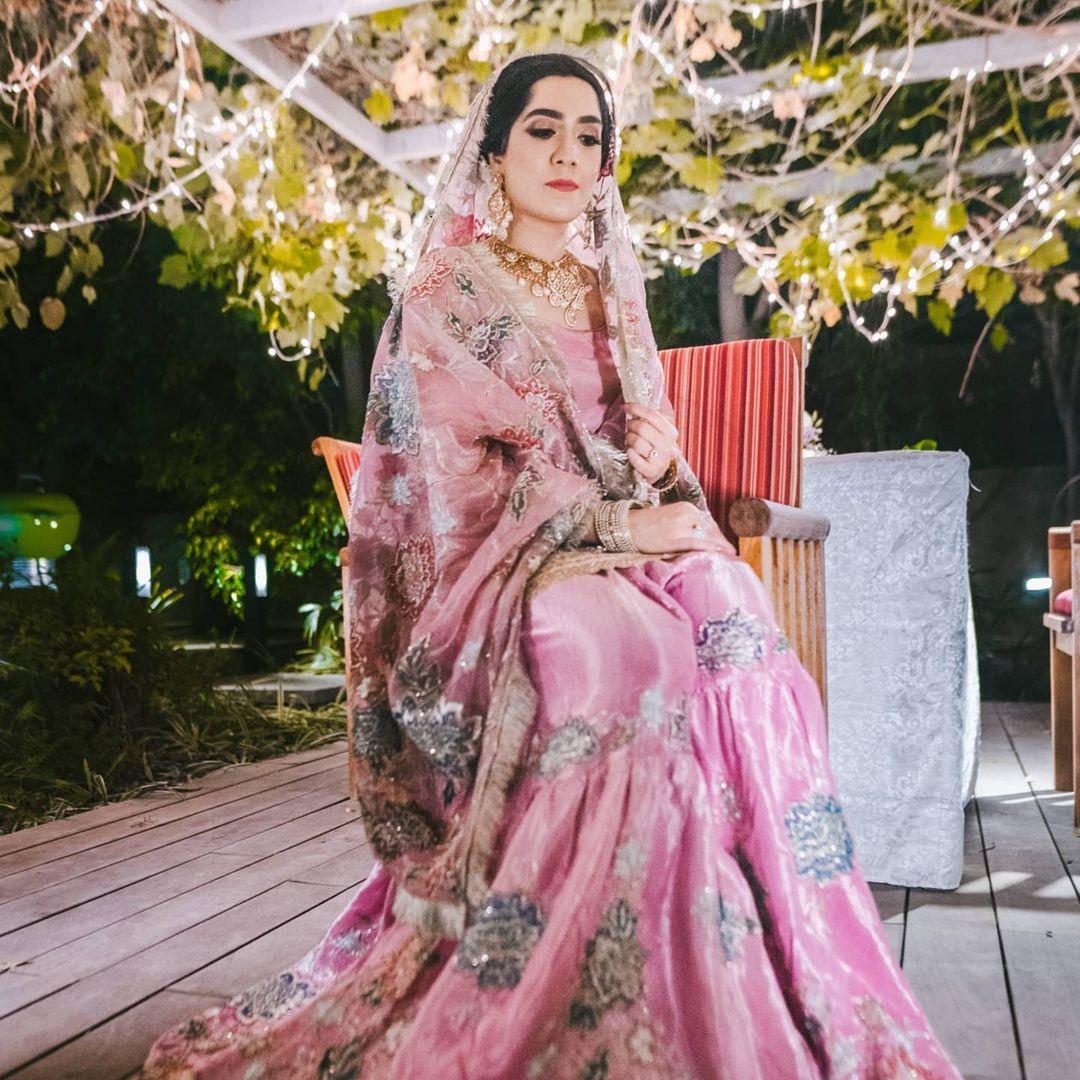 vintage pink bridal sharara