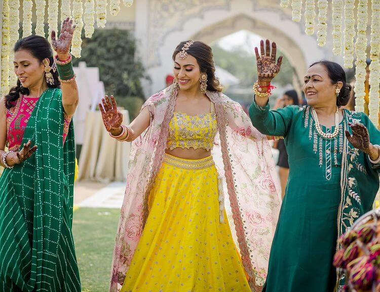 bridal yellow outfits