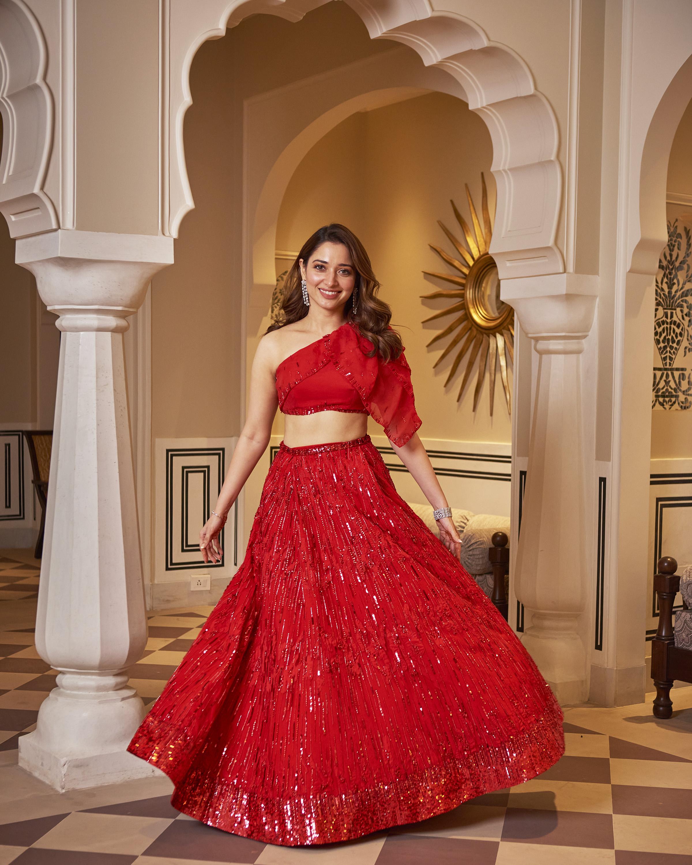Actress tamannaah bhatia in red lehenga