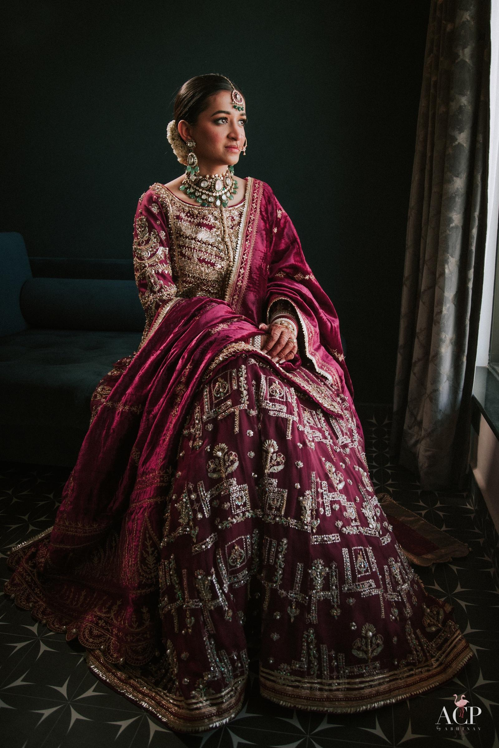 Bride wearing Mohsin Naveed Ranjha lehenga