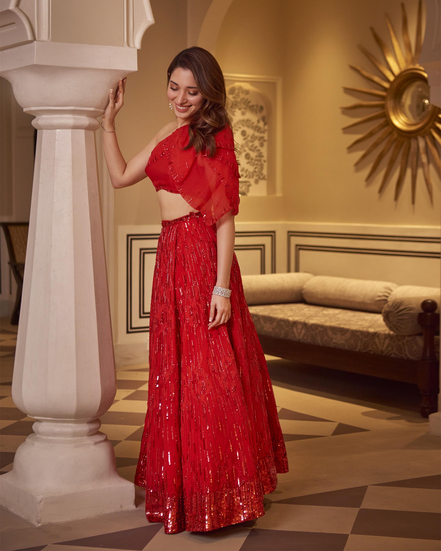Ohaila Khan red embellished lehenga