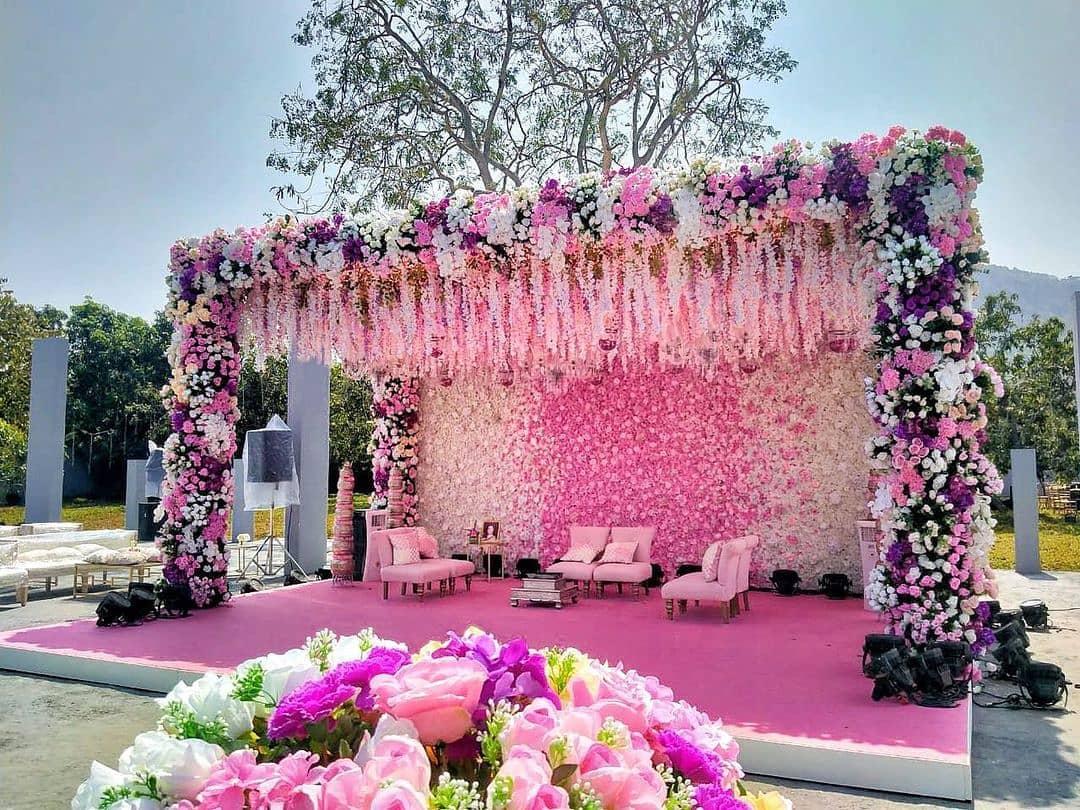 baby pink floral mandap decor