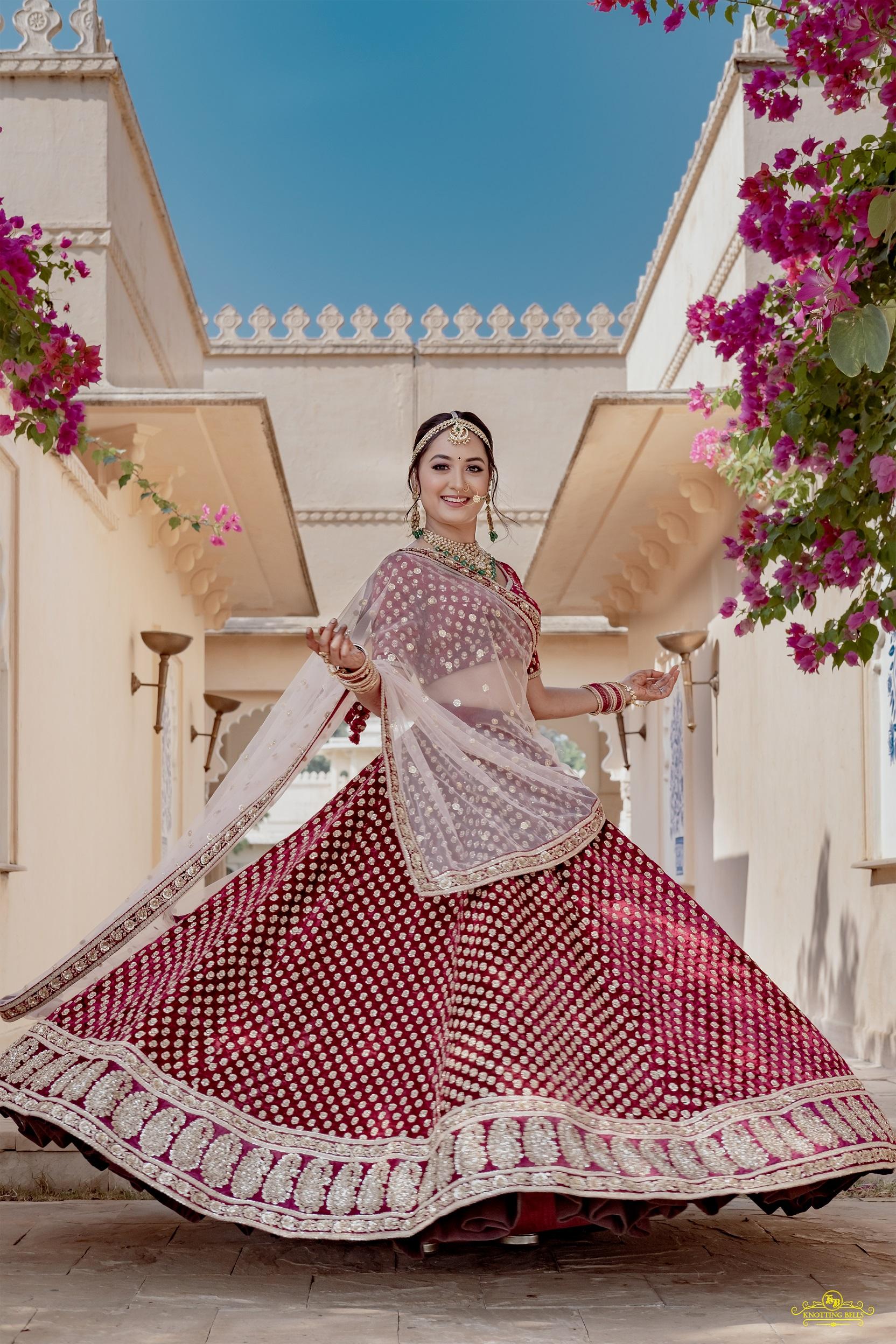 bridal maroon sabyasachi lehenga